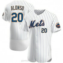 Mens Pete Alonso New York Mets #20 Authentic White Home A592 Jersey