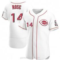 Mens Pete Rose Cincinnati Reds #14 Authentic White Home A592 Jersey