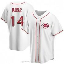 Mens Pete Rose Cincinnati Reds #14 Replica White Home A592 Jersey