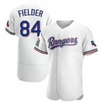 Mens Prince Fielder Texas Rangers #84 Authentic White Home A592 Jersey