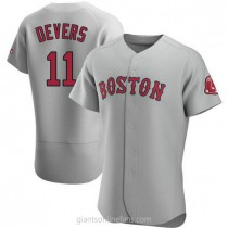 Mens Rafael Devers Boston Red Sox #11 Authentic Gray Road A592 Jersey