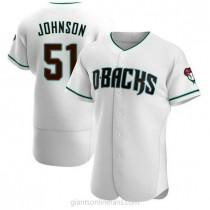 Mens Randy Johnson Arizona Diamondbacks #51 Authentic White Teal Alternate A592 Jerseys