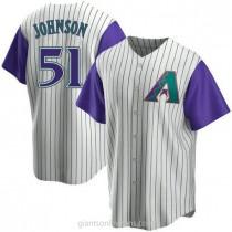 Mens Randy Johnson Arizona Diamondbacks #51 Replica Purple Cream Alternate Cooperstown Collection A592 Jerseys
