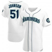 Mens Randy Johnson Seattle Mariners #51 Authentic White Home A592 Jerseys