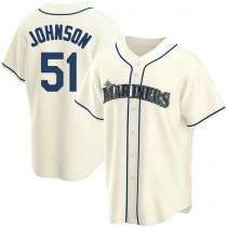 Mens Randy Johnson Seattle Mariners Replica Cream Alternate A592 Jersey