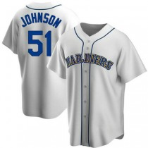 Mens Randy Johnson Seattle Mariners Replica White Home Cooperstown Collection A592 Jersey
