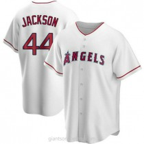 Mens Reggie Jackson Los Angeles Angels Of Anaheim #44 Replica White Home A592 Jersey