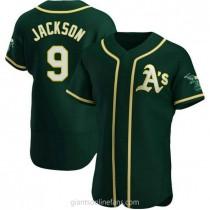 Mens Reggie Jackson Oakland Athletics #9 Authentic Green Alternate A592 Jerseys