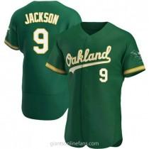 Mens Reggie Jackson Oakland Athletics #9 Authentic Green Kelly Alternate A592 Jersey