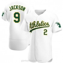 Mens Reggie Jackson Oakland Athletics #9 Authentic White Home A592 Jerseys