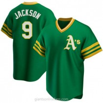 Mens Reggie Jackson Oakland Athletics #9 Replica Green R Kelly Road Cooperstown Collection A592 Jersey