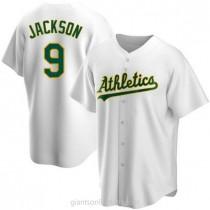 Mens Reggie Jackson Oakland Athletics #9 Replica White Home A592 Jerseys