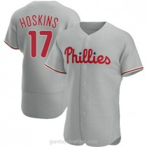 Mens Rhys Hoskins Philadelphia Phillies #17 Authentic Gray Road A592 Jersey