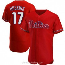 Mens Rhys Hoskins Philadelphia Phillies #17 Authentic Red Alternate A592 Jersey