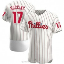 Mens Rhys Hoskins Philadelphia Phillies #17 Authentic White Home A592 Jersey