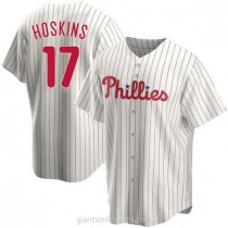 Mens Rhys Hoskins Philadelphia Phillies #17 Replica White Home A592 Jersey
