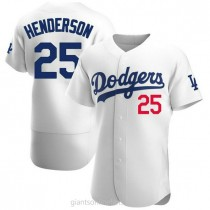 Mens Rickey Henderson Los Angeles Dodgers #25 Authentic White Home Official A592 Jersey