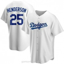 Mens Rickey Henderson Los Angeles Dodgers #25 Replica White Home A592 Jersey