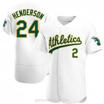 Mens Rickey Henderson Oakland Athletics #24 Authentic White Home A592 Jersey