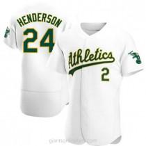 Mens Rickey Henderson Oakland Athletics #24 Authentic White Home A592 Jerseys
