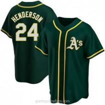 Mens Rickey Henderson Oakland Athletics #24 Replica Green Alternate A592 Jerseys