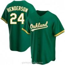 Mens Rickey Henderson Oakland Athletics #24 Replica Green Kelly Alternate A592 Jersey