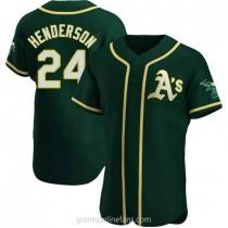 Mens Rickey Henderson Oakland Athletics Authentic Green Alternate A592 Jersey