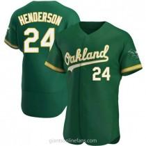 Mens Rickey Henderson Oakland Athletics Authentic Green Kelly Alternate A592 Jersey