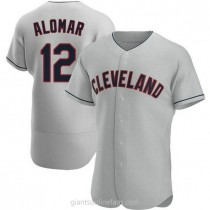 Mens Roberto Alomar Cleveland Indians #12 Authentic Gray Road A592 Jersey