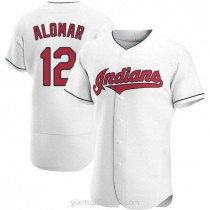 Mens Roberto Alomar Cleveland Indians #12 Authentic White Home A592 Jersey
