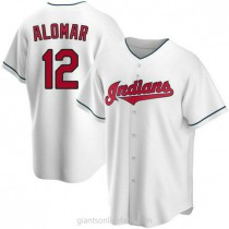 Mens Roberto Alomar Cleveland Indians #12 Replica White Home A592 Jersey