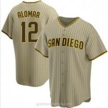 Mens Roberto Alomar San Diego Padres #12 Replica Brown Sand Alternate A592 Jersey