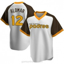 Mens Roberto Alomar San Diego Padres #12 Replica White Home Cooperstown Collection A592 Jersey