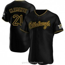 Mens Roberto Clemente Pittsburgh Pirates #21 Authentic Black Alternate Team A592 Jersey