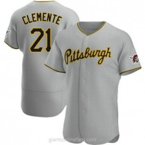 Mens Roberto Clemente Pittsburgh Pirates #21 Authentic Gray Road A592 Jerseys