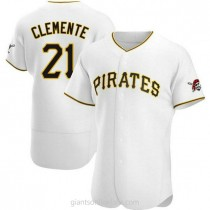 Mens Roberto Clemente Pittsburgh Pirates #21 Authentic White Home A592 Jersey