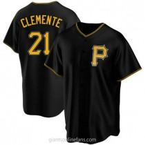 Mens Roberto Clemente Pittsburgh Pirates #21 Replica Black Alternate A592 Jersey