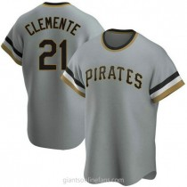 Mens Roberto Clemente Pittsburgh Pirates #21 Replica Gray Road Cooperstown Collection A592 Jersey
