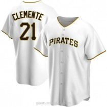 Mens Roberto Clemente Pittsburgh Pirates #21 Replica White Home A592 Jersey