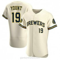 Mens Robin Yount Milwaukee Brewers #19 Authentic Cream Home A592 Jersey