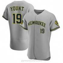 Mens Robin Yount Milwaukee Brewers #19 Authentic Gray Road A592 Jerseys