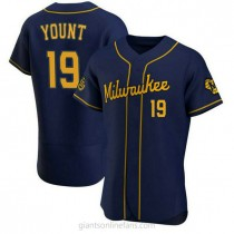 Mens Robin Yount Milwaukee Brewers #19 Authentic Navy Alternate A592 Jerseys