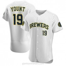Mens Robin Yount Milwaukee Brewers #19 Authentic White Alternate A592 Jerseys