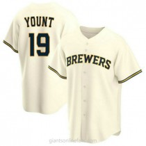 Mens Robin Yount Milwaukee Brewers #19 Replica Cream Home A592 Jersey