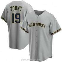 Mens Robin Yount Milwaukee Brewers #19 Replica Gray Road A592 Jerseys