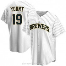 Mens Robin Yount Milwaukee Brewers #19 Replica White Home A592 Jerseys