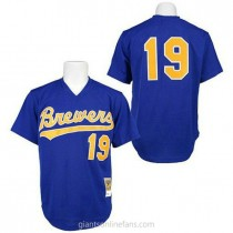 Mens Robin Yount Mitchell And Ness Milwaukee Brewers #19 Authentic Blue 1991 Throwback A592 Jerseys