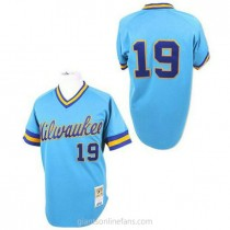 Mens Robin Yount Mitchell And Ness Milwaukee Brewers #19 Authentic Blue Throwback A592 Jersey