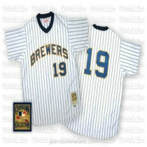 Mens Robin Yount Mitchell And Ness Milwaukee Brewers #19 Authentic Blue White Strip Throwback A592 Jersey
