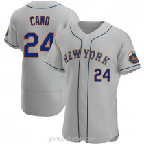 Mens Robinson Cano New York Mets #24 Authentic Gray Road A592 Jersey